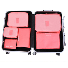 Nylon Packing Cube Travel Bag System Durable 6 Pieces One Set Large Capacity Of Unisex Clothing Sorting Underwear Organize Bag(China)