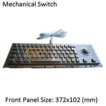 65 Keys stainless steel mechanical keyboard with trackball, metallic mechanical keyboard, kiosk keyboard with trackball(China)