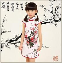 Plum Blossom Ink Painting Kids Dress Straight Elegant Dresses Children's Day Show Tang Suit Girls cheongsam Chinese Style