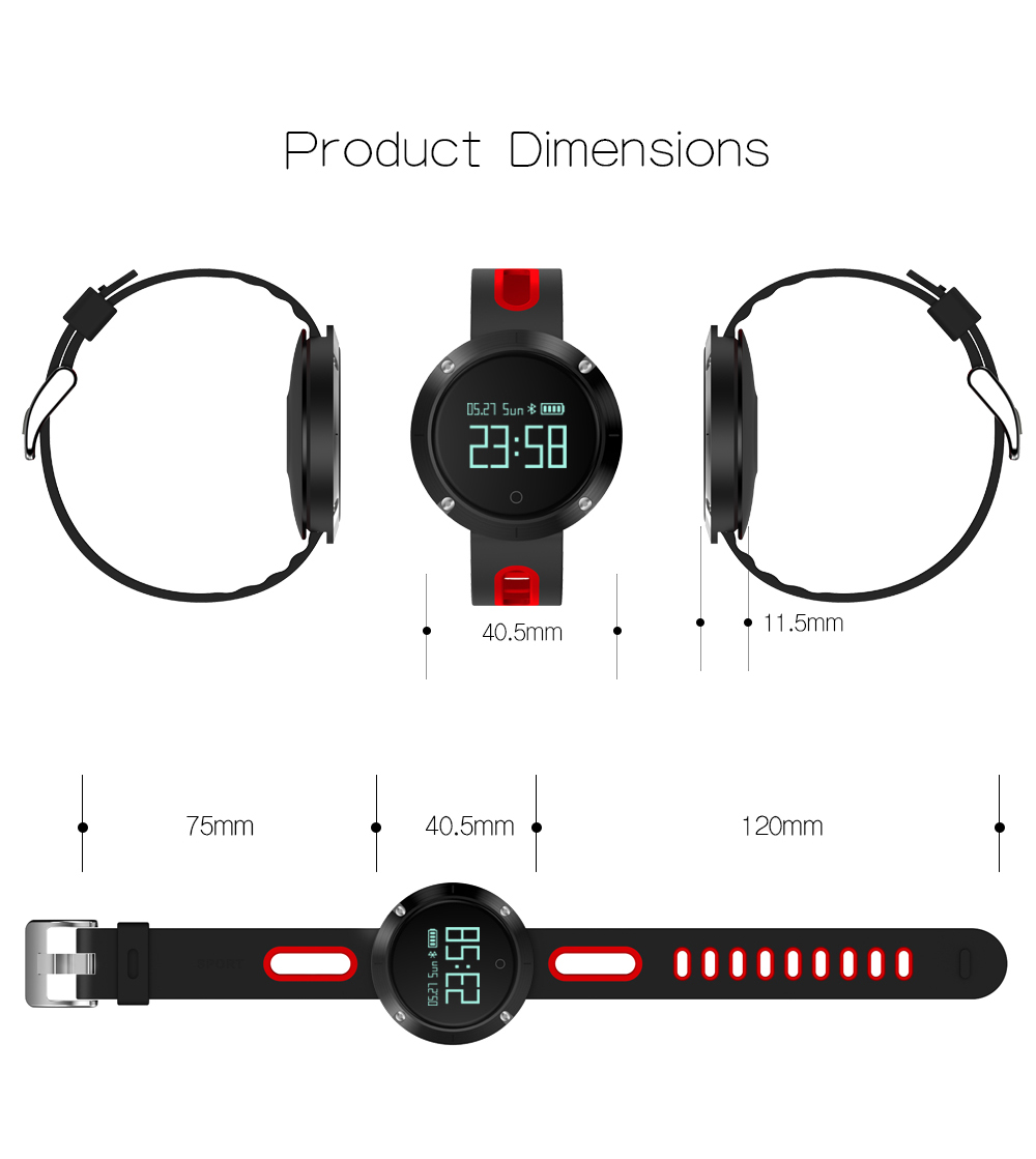 Waterproof Sports Bracelet DM58 Smart Band Heart Rate Blood Pressure Watch Smart Wristband Fitness Tracker for IOS Android C1 17