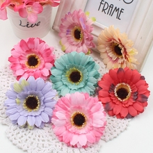 10PCS/lot 7 cm artificial silk sunflower head wedding shoes headdress DIY home decoration artificial flowers decorative products(China)
