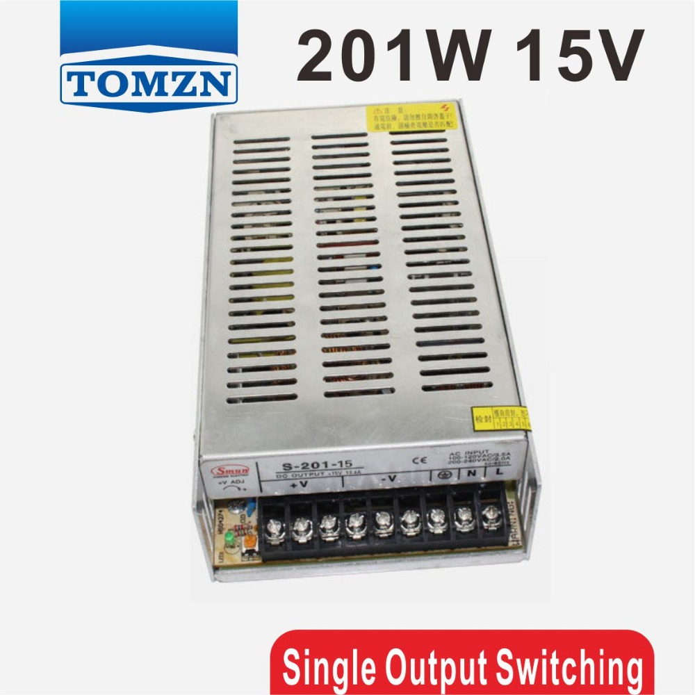 201W 15V 13A Single Output Switching power supply for LED Strip light AC to DC<br>