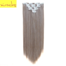 Xi.rocks 7pcs/set Clip in Human Hair Extensions 55cm Synthetic Extension 25 Colors Straight Clips ins Heat Resistant Hair