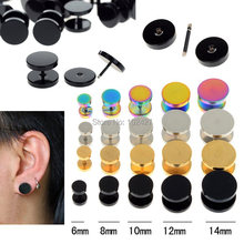 1pc Fake Ear Plug Stud Stretcher Ear Tunnel Earring Stainless Steel Body Piercing Jewelry 6-14mm Black/Silver/Gold/Colorful
