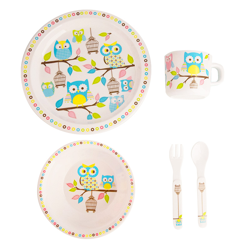 Baby Feeding Dishes Set Bowl Plate Forks Spoon Cup Children's Tableware Melamine Dinnerware Feeding Set For Kids Dishes Plate (4)