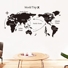 World 1 pc Map Wall Sticker Removable Waterproof Home Office Decor Sticker(China)