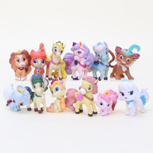 12pcs/set Princess Palace Pet Pony Blondie Bunny Berry Pumpkin Action Figure Toys Snow White Puppy 4-6cm Model Doll Girls Gifts