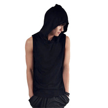 Fashion Summer T-Shirt Mens Short Sleeve Casual T Shirts Cotton Solid color hooded Tee Shirts Fitness Clothing(China)