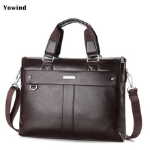 YOWIND High Capacity Hollow Out Bottom Men's Leather Briefcase Bag For 14'' Laptop Vintage Business Leather Mens Handbags