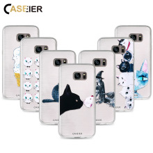 CASEIER Cute Cat Phone Case For Samsung Galaxy S6 S7 Edge S8 Plus Note 8 Soft TPU Covers Relief Silicone Phone Shell Capa Cases(China)