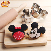 Lovely Cartoon Mickey Mouse Shape Metal Cookie Cutters DIY Baking Tools Fruit Fondant Mold Decorating Biscuit Cake Mould 8001