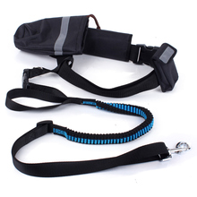 Hand Free Elastic Dog Leash Adjustable Padded Waist Reflective Running Jogging Walking Pet Lead Belt With Pouch Bags