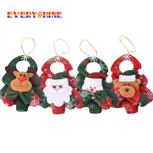 2017 Happy New Year 4pcs/lot Santa Claus Snowman Bear Christmas Tree Hanging Ornaments Home Decorators Pendant Gift Toys JK283