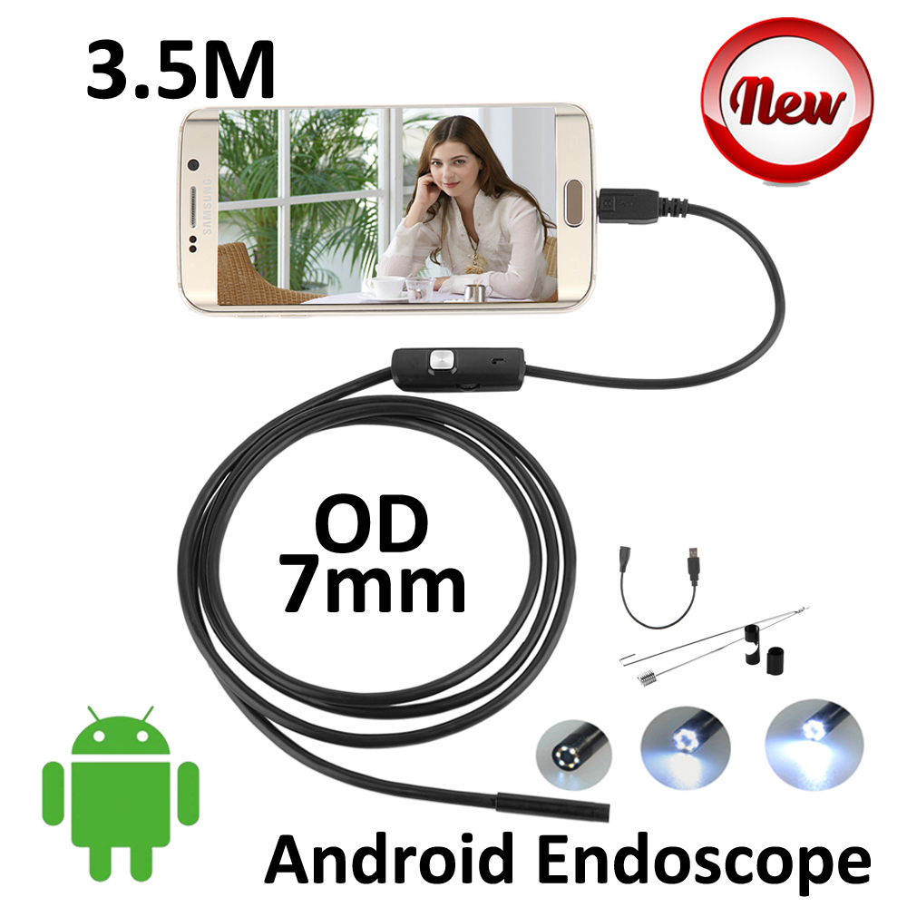 OD7mm Lens 3.5M Android Phone USB Endoscope Camera OTG IP67 Waterproof Pipe Inspection Camera  Android USB Borescope 6LED Camera<br><br>Aliexpress
