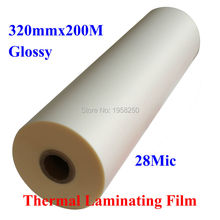 "1 PC 28Mic 320mmx200M 1Mil Glossy 1"" Core Hot Laminating Films Bopp for Hot Roll Laminator(China)"