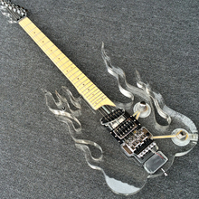 New Style Acrylic Flame Electric guitar, Transparent Body & Head, LED Light Guitarra, Floyd Rose Tremolo Bridge, Wholesale