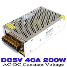 Single Output Switching power supply 200W 5V 40A UPS for LED Strip dispaly light AC to dc power supply 10pcs