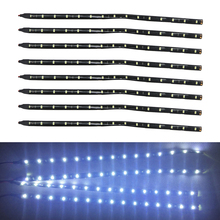 8PCs/Lot 30cm 15-Led White Led String Light Bar Auto Car Atmosphere Lights Boat Motor Universal Fit Motorcycle Decoration Lights