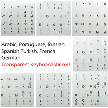Russian Spanish Arabic French Portuguese German Turkish High Quality Transparent Keyboard Stickers Keyboard Covers for White Key