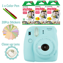 Fujifilm Instax Mini 9 Camera Ice Blue + 50 Photos Fuji Instant Mini 8 White Frame Film Paper Picture + Free 20pcs Sticker & Pen(Hong Kong)