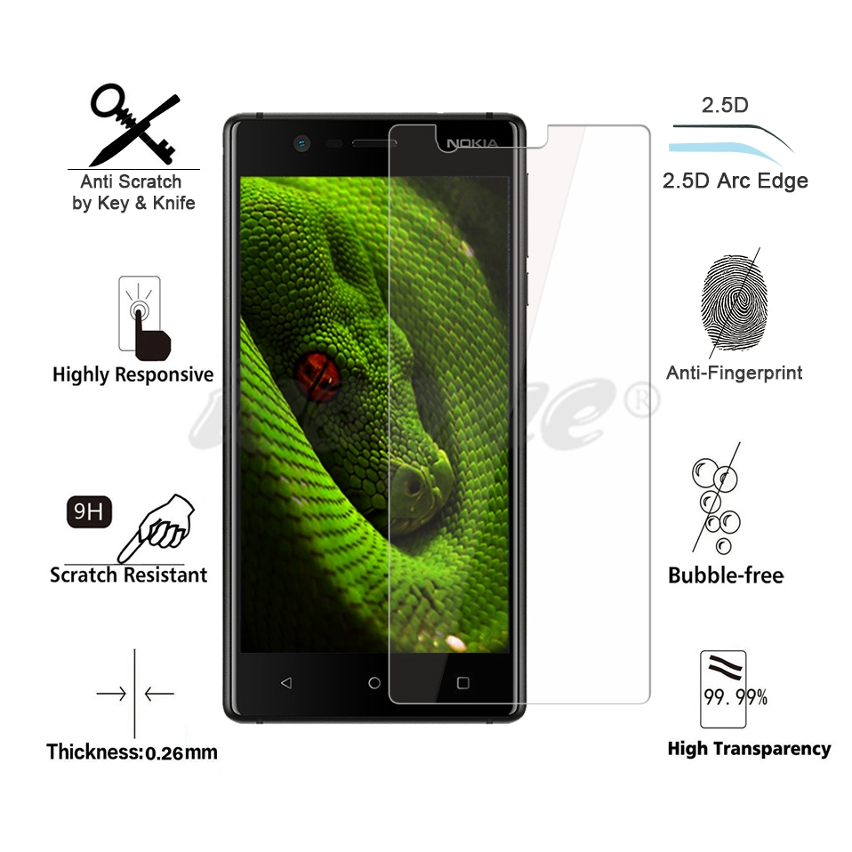Icoque 9H 2.5D Glass for Nokia 3 Screen Protector Glass Display Film for Nokia3 Nokia 6 7 8 5 2 Nokia 3 Tempered Glass Protector (2)