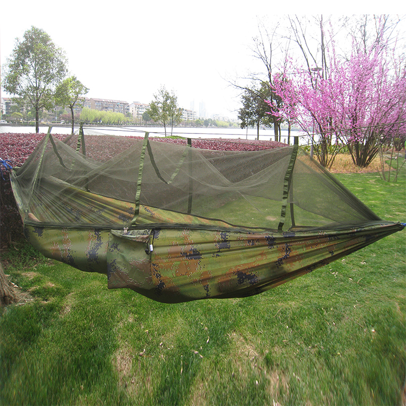 240*120cm Portable camouflage hammock with mosquito net outdoor camping survival Leisure  Parachute nylon swings mesh hammock<br>