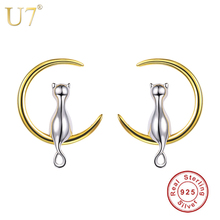 U7 925 Sterling Silver Stud Earrings Cat Sitting on Moon Women Jewelry Brincos Bridesmaid Gift Sterling Silver Earings SC03(China)