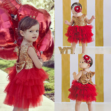 2016 New Arrival Toddler Baby Girl Princess Sequins Dress Bow Tulle Cake Dress Gown Party Dresses New Arrival Red Color