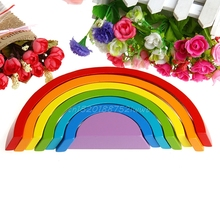 7Pcs Colorful Wood Rainbow Building Blocks Baby Intellectual Development Toys  #T026#