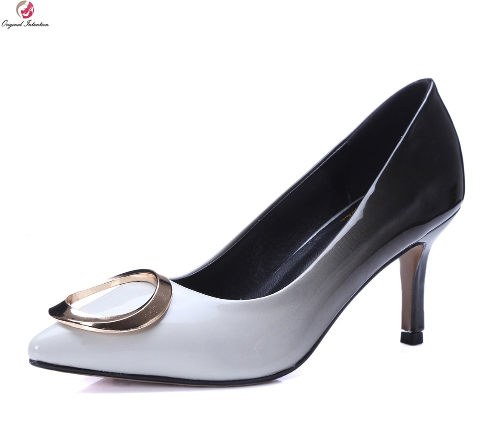 Original Intention Women Pumps Fashion Pointed Toe Thin Heels Pumps High-quality Gradient Black Blue Shoes Woman Size 3.5-10.5<br>