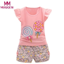2018 Summer Fashion Baby Girls Princess Clothes Sets Cotton Lollipop Shorts+T-shirts 2 PCS Kids Girls Clothing Infant Girls Sets(China)