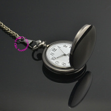 low price good quality retro vintage black man father smooth round classic men gift quartz pocket watch with short waist chain