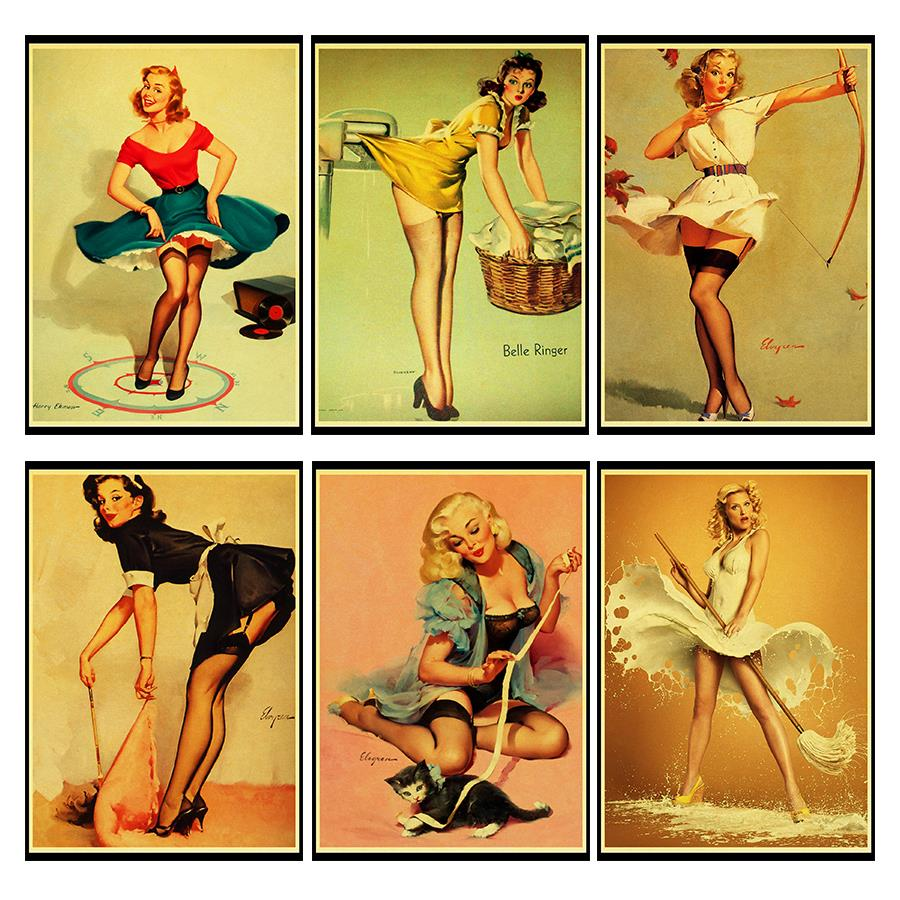 Pin Up Girl And Kids Photo Picture Reprint On Framed Canvas Wall Art Home Decor