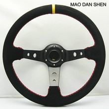14inch 350mm Suede Leather Deep Dish Corn Drifting Steering Wheel / General Steering Wheel car styling Volante MAO DAN SHEN(China)