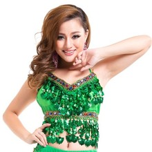 Sexy Handmade Belly Dance Bra tops Crystal Sequins Beads Bells Peppers Costumes(China)