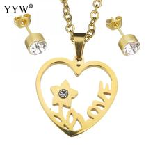 Rhinestone Stainless Steel Jewelry Set earring & necklace Flower Heart word love gold color chain woman rhinestone Sold By Set