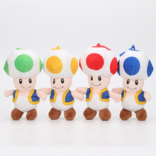 18CM Super Mario Bros Toad Plush Stuffed Dolls Plush Toys Figures toy Mushroom plush pendant keychain keyring(China)