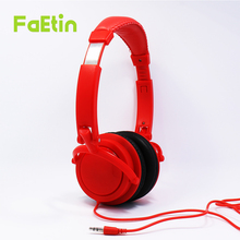 Foldable headphone Red headphones Gaming Headset Lightweight Earphone for PC wired Earphone Gaming headphones Faetin HR-23