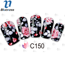 1 Pcs Chines Style Flower Nail Art Stickers DIY Full Wraps Sticker For Nails 3 Design For Select Charms Nail Art JH369
