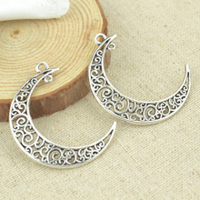 10 pcs 40*34 mm Antique Tibetan Silver Charms Bracelet Necklace Pendant  New Fashion Alloy charm  moon 2348
