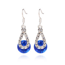 2017 Hot Big Crystal Rhinestone Pendant Fashion Long Paragraph Earrings Four Colors Water Drop Earrings Blue Red Pink Wholesale