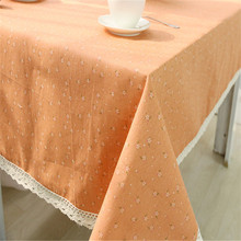Home Textiles Cotton&Linen Orange Floret Tablecloth Desk Table Cover Home Party Wedding Decor