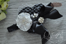 10pcs/lot Black  Triple Stain Rosette With Bow Matching Sparkling Pearl Rhinestone Lace Headband Baby Headband