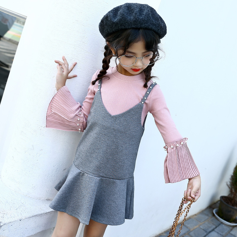 beading big girls dress clothing sets 2018 autumn spring kids clothes little girls set sleeveless dress long sleeve tops suits<br>