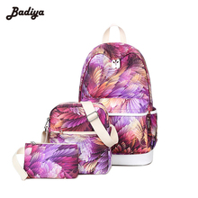 Casual Style School Bag Purple Printing Laptop Bolsas Famous Brand Women Backpack For Girl Fashion Mochila Escolar Travel Bag