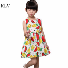 Kids Dresses for Girls 2017 Fashion Girls Dress Clothes Sleeveless Cotton Lemon Watermelon Dress Summer Children's Dress Vestido(China)