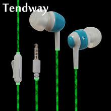 Luminous wired In-Ear Earphone Stereo Fluorescence Earphone Earbuds 3.5mm jack standard with Mic for Apple Samsung Xiaomi(China)