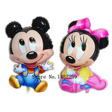 XXPWJ Free shipping new circular aluminum balloons dimensional Mickey Minnie children's toys balloon wholesale