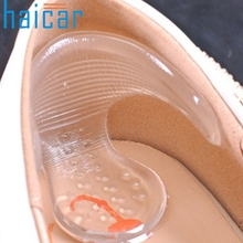 Haicar Top Grand 1Pair Silicone Gel Heel Cushion Protector Foot Feet Care Shoe Insert Pad Insole Shoe Brush(China)