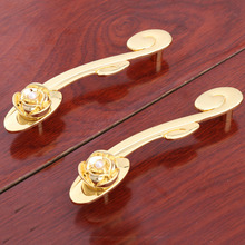 96mm modren fashion creative K gold wine cabinet kitchen cabinet door handles golden rose pearl drawer tv table knobs pull 3.75""